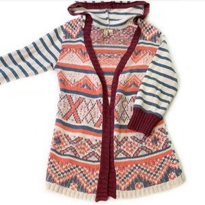 BKE • Buckle Mixed Pattern Hooded Cardigan